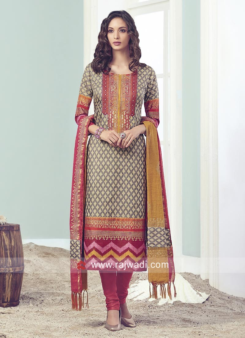 Straight Fit Cotton Silk Salwar Suit