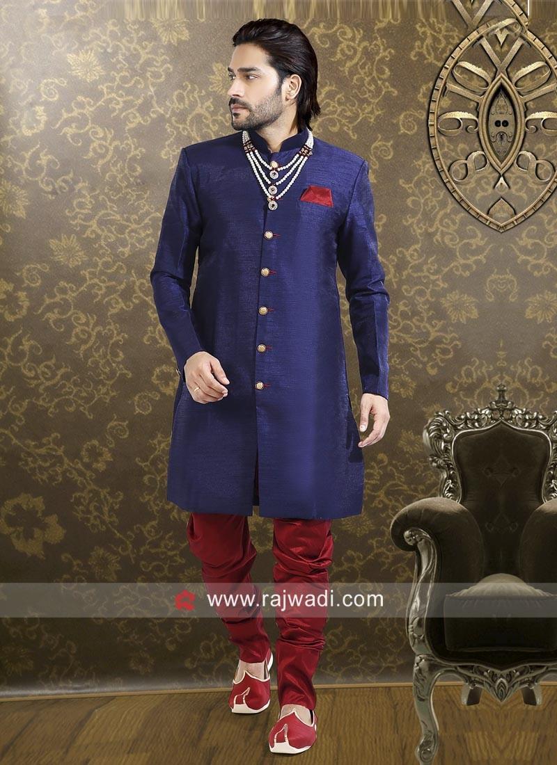Attractive Blue Indo Western Sherwani
