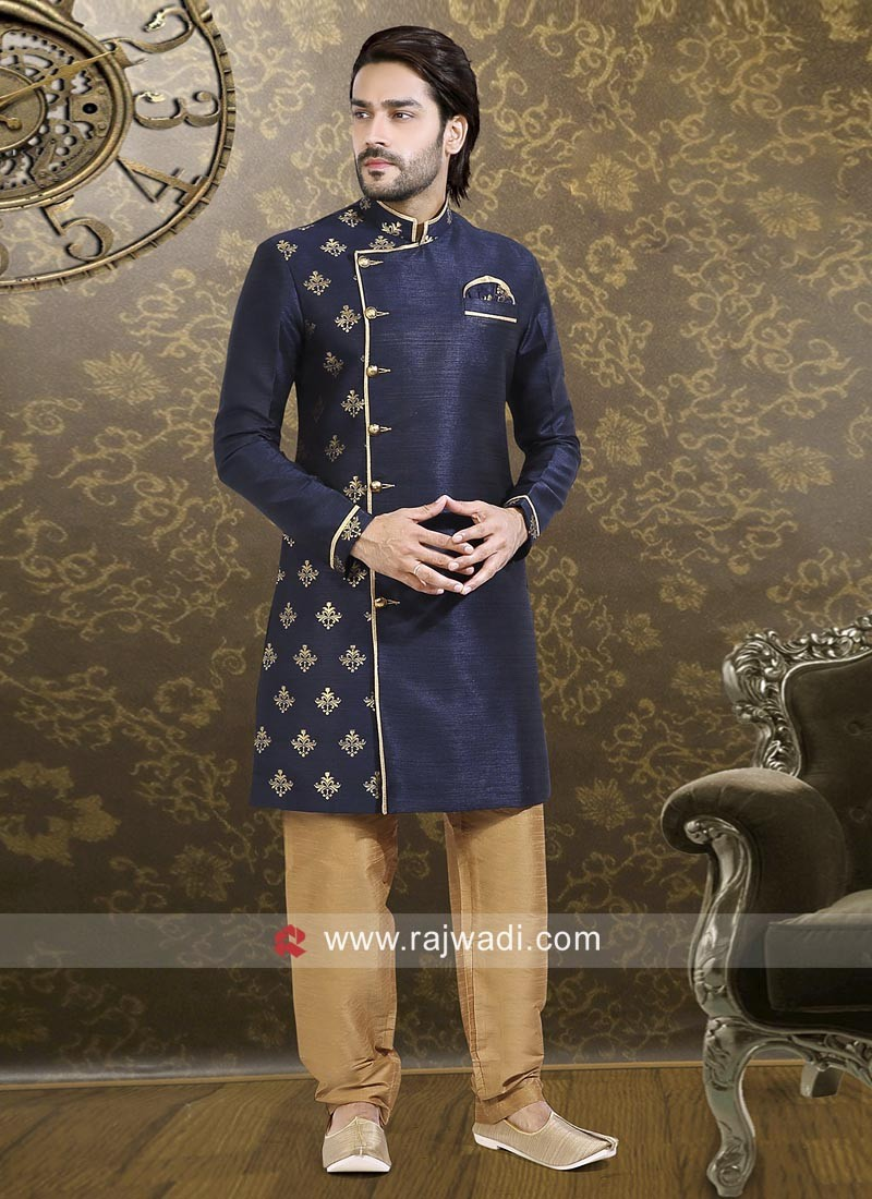Party Wear Dark Navy Blue Indo Western