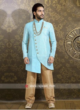 Silk Sky Blue Color Indo Western