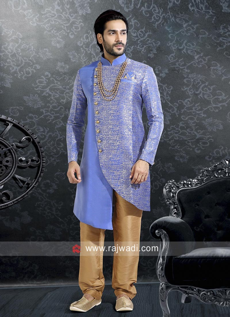 Royal Blue Silk Indo Western Sherwani