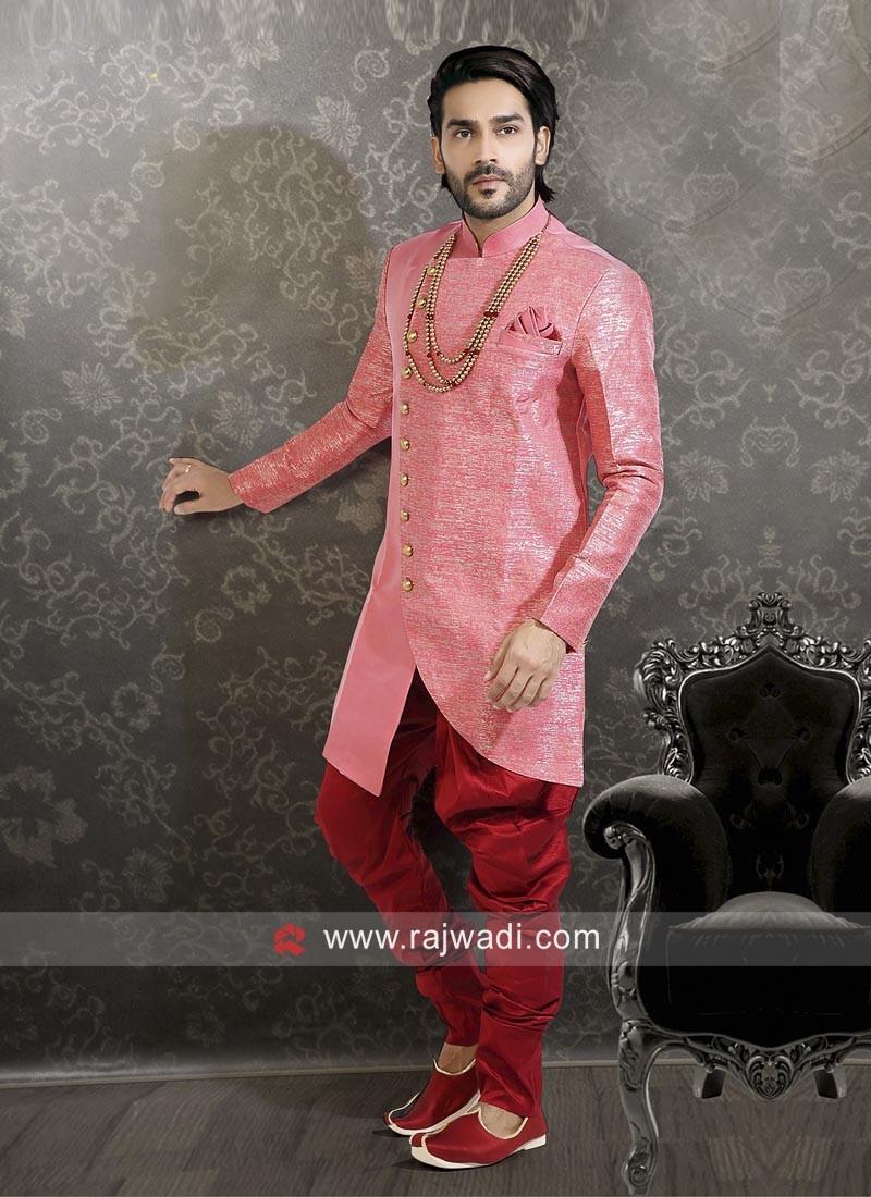 Pink Silk Indo Western Sherwani