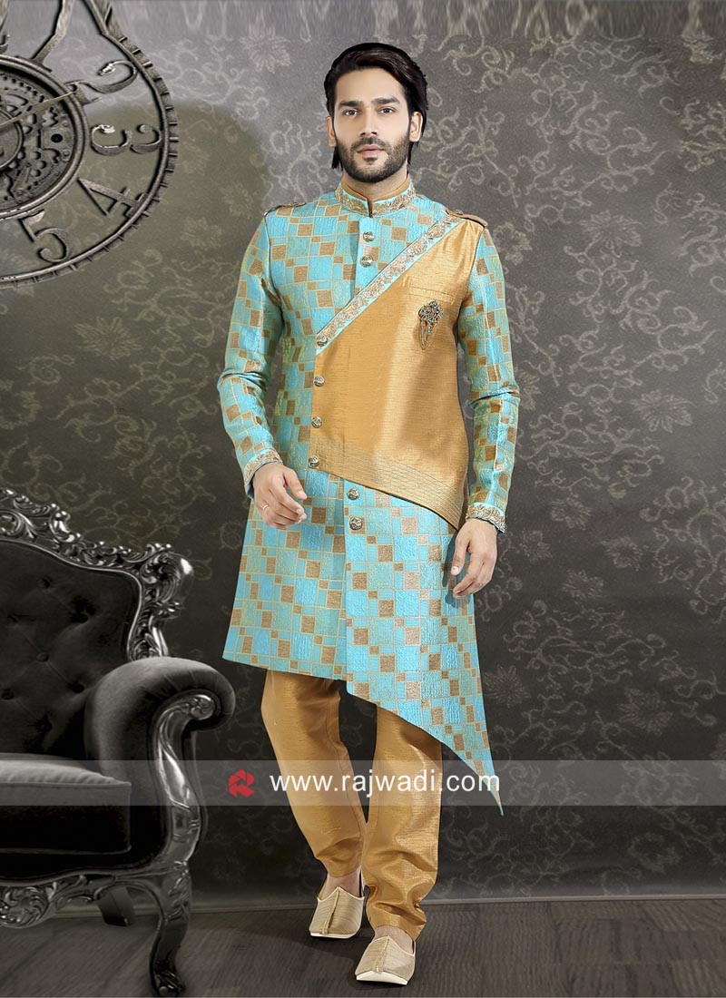 Sky Blue and Golden Indo Western