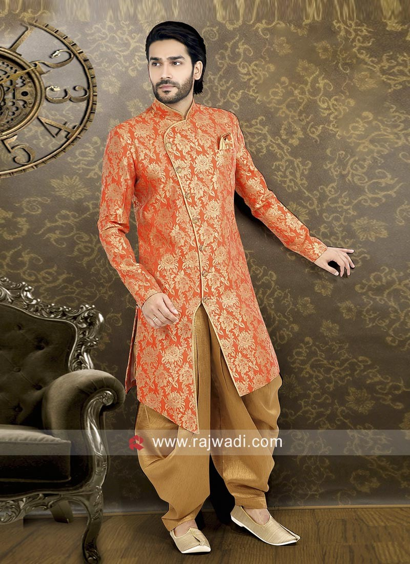 Brocade Fabric Orange Indo Western
