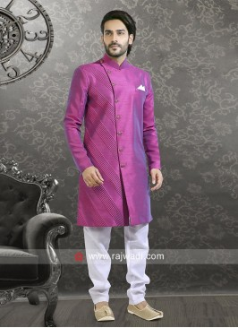 Marvelous Magenta and White Color Indo Western