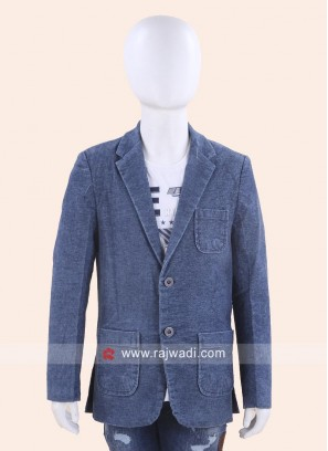 Royal Blue Boys Blazer with Fancy Buttons