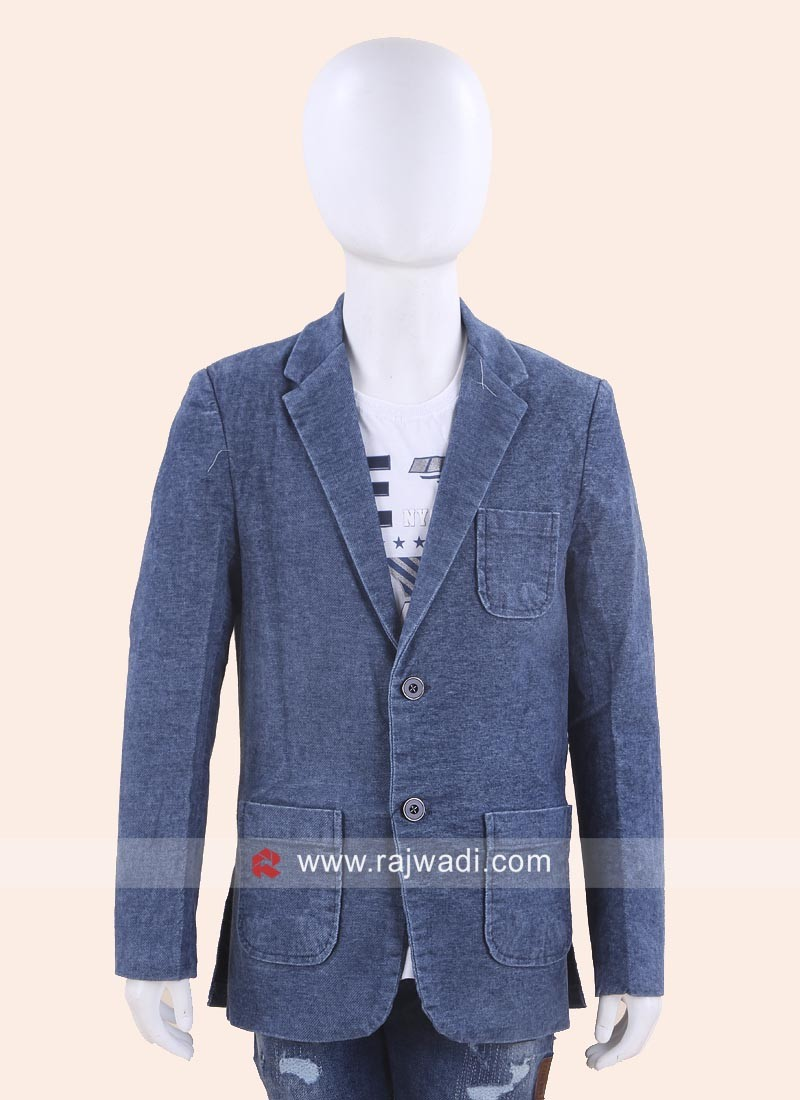 Royal Blue Boys Blazer with Fancy Buttons