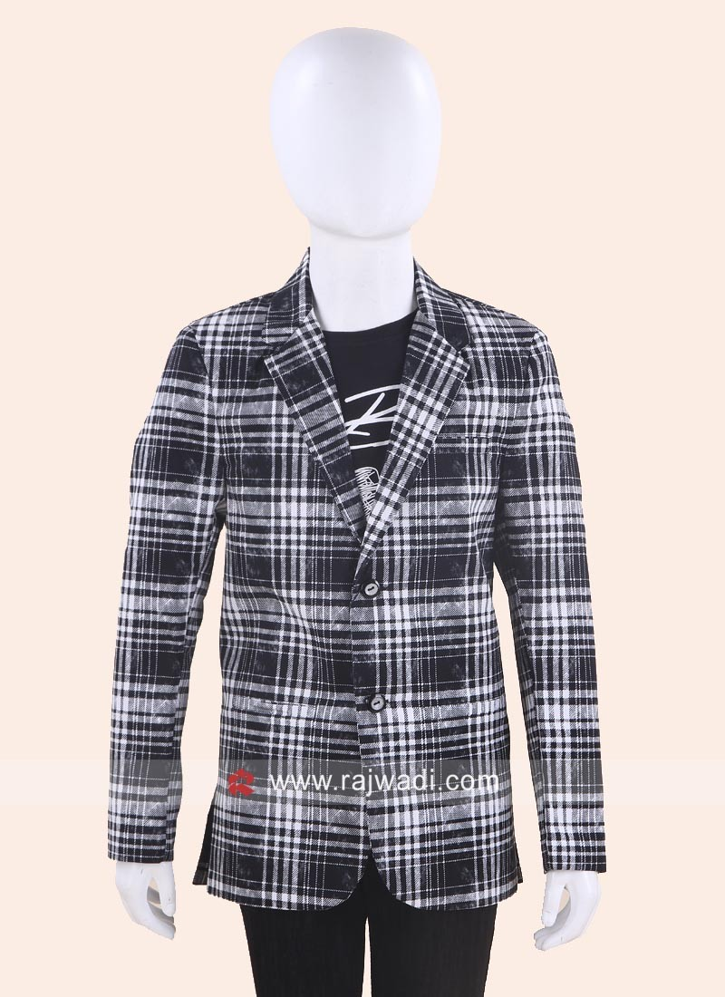 Boys Wedding Blazer with Checks Print
