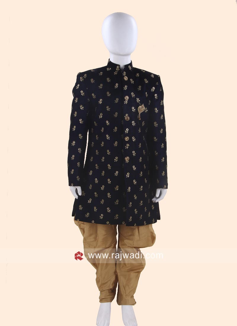 Navy Velvet Indo Western for Kids