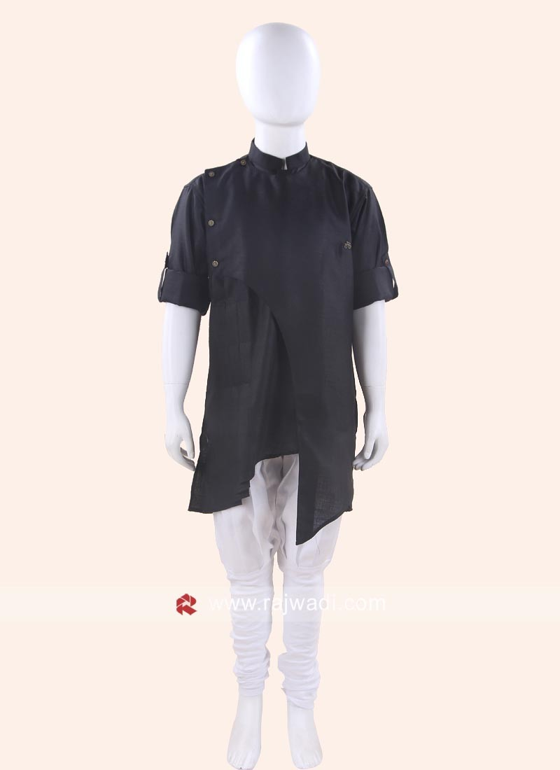 Plain Black Kurta