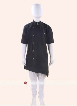 Black Color Cotton Silk Kurta
