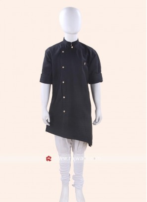 Black Color Cotton Silk Kurta