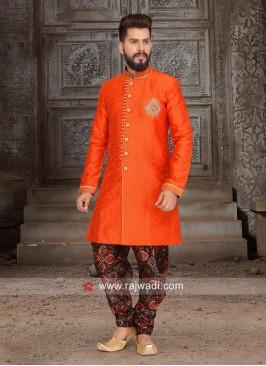 Art Silk Orange Indo Western