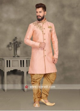 Zari Work Peach Color Indo Western