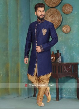 Art Silk Fabric Navy Color Indo Western