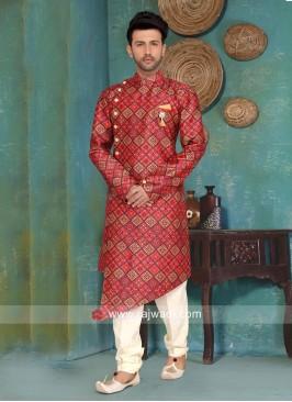 Maroon Printed Indo Western