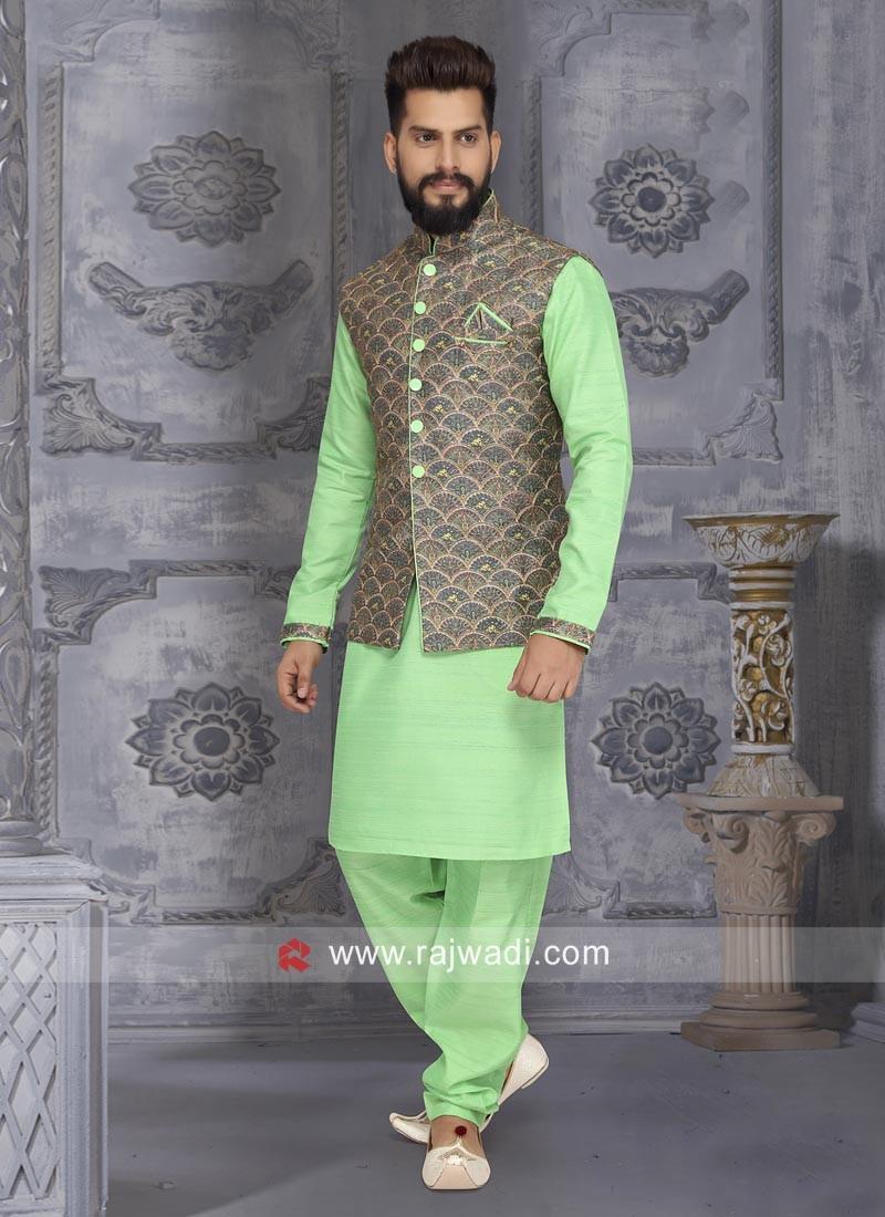 Stylish Art Silk Nehru Jacket
