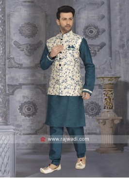 Peacock Blue Nehru Jacket