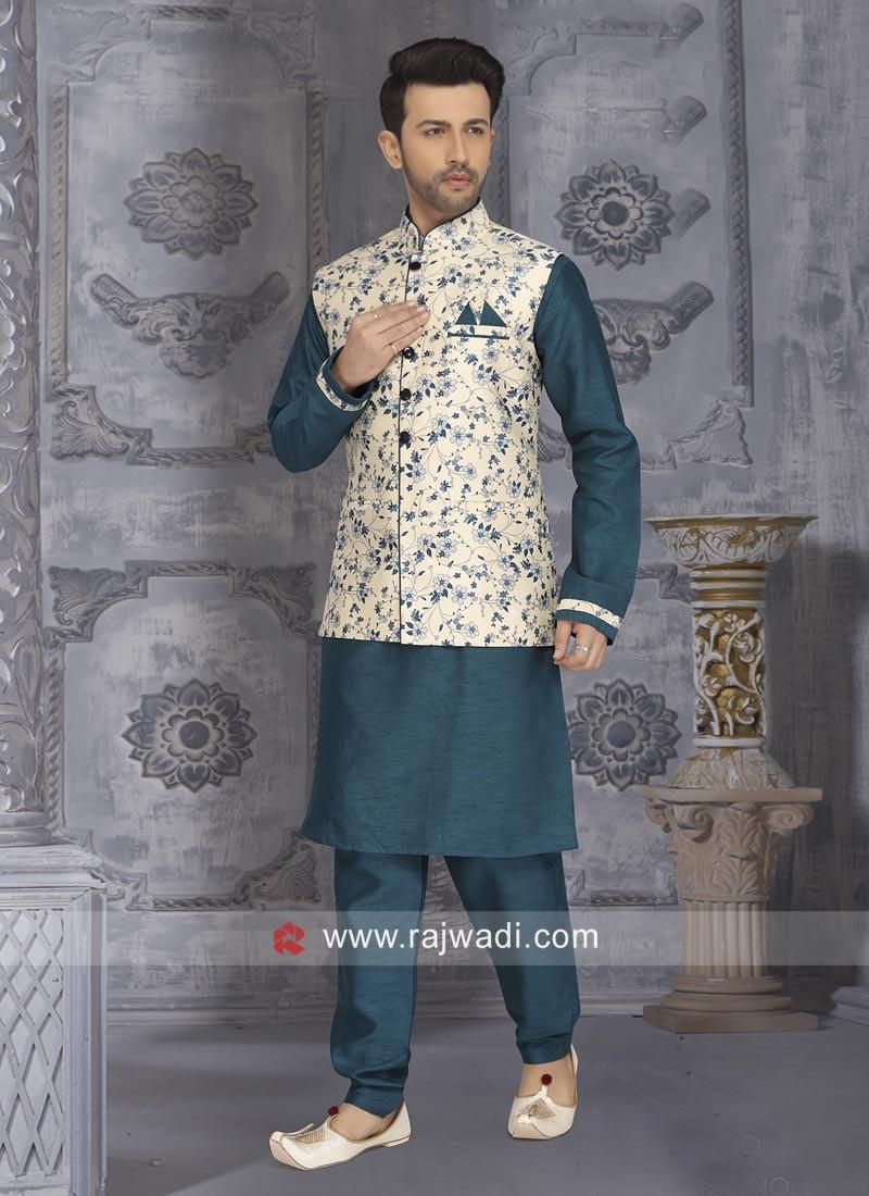Peacock Blue Nehru Jacket