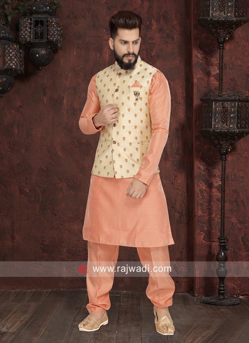 Attractive Peach Color Nehru Jacket