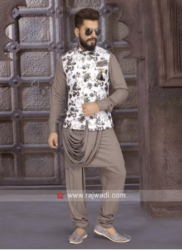 Layered Coffee Color Nehru Jacket