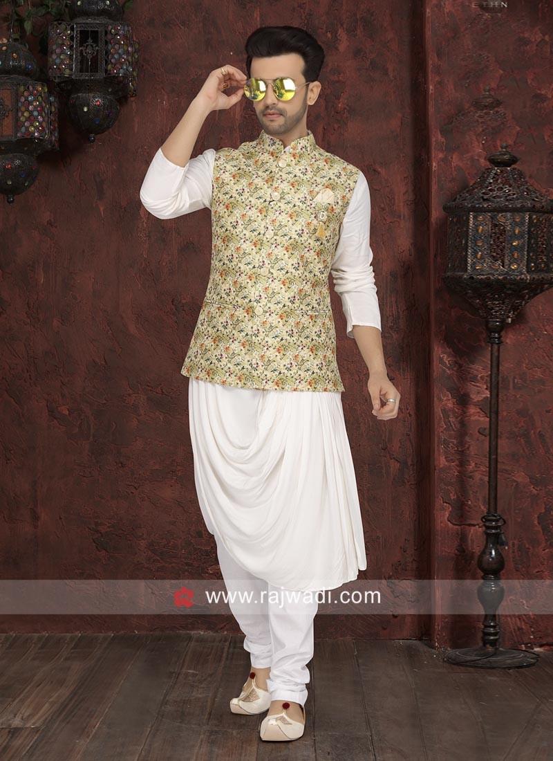 Stunning Off White Layered Nahru Jacket