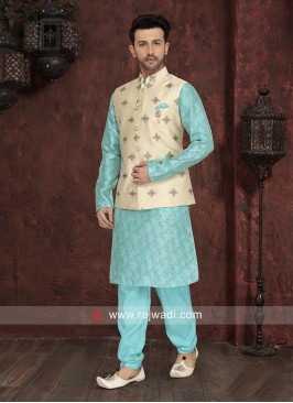 Marvelous Sky Blue Nehru Jacket