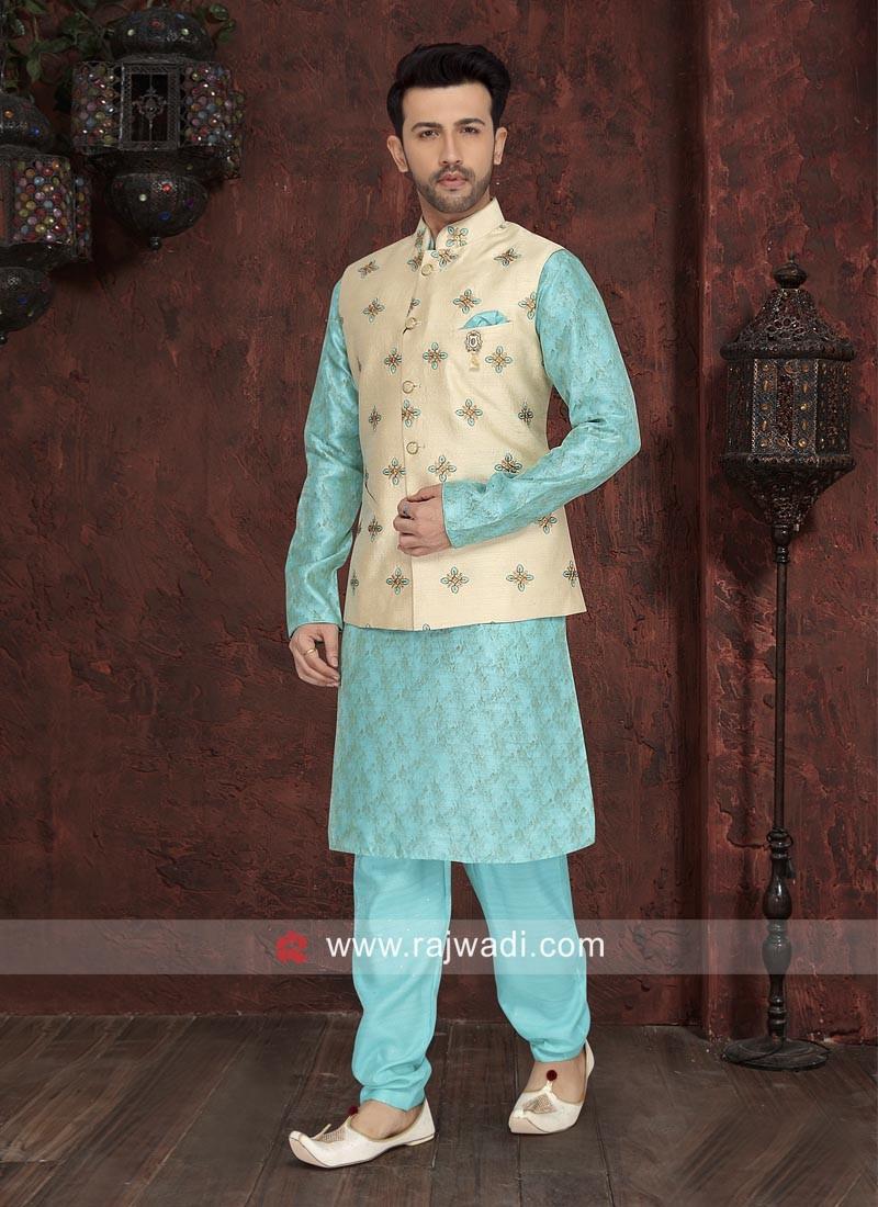 Marvelous Sky Blue Nehru Jacket
