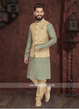 Designer Sea Green Nehru jacket