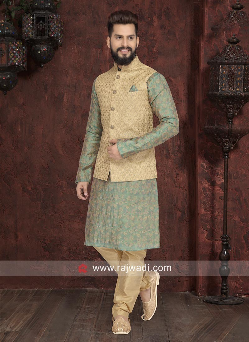 Designer Sea Green Nehru jacket