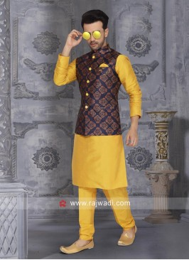 Attractive Yellow Wedding Nehru Jacket