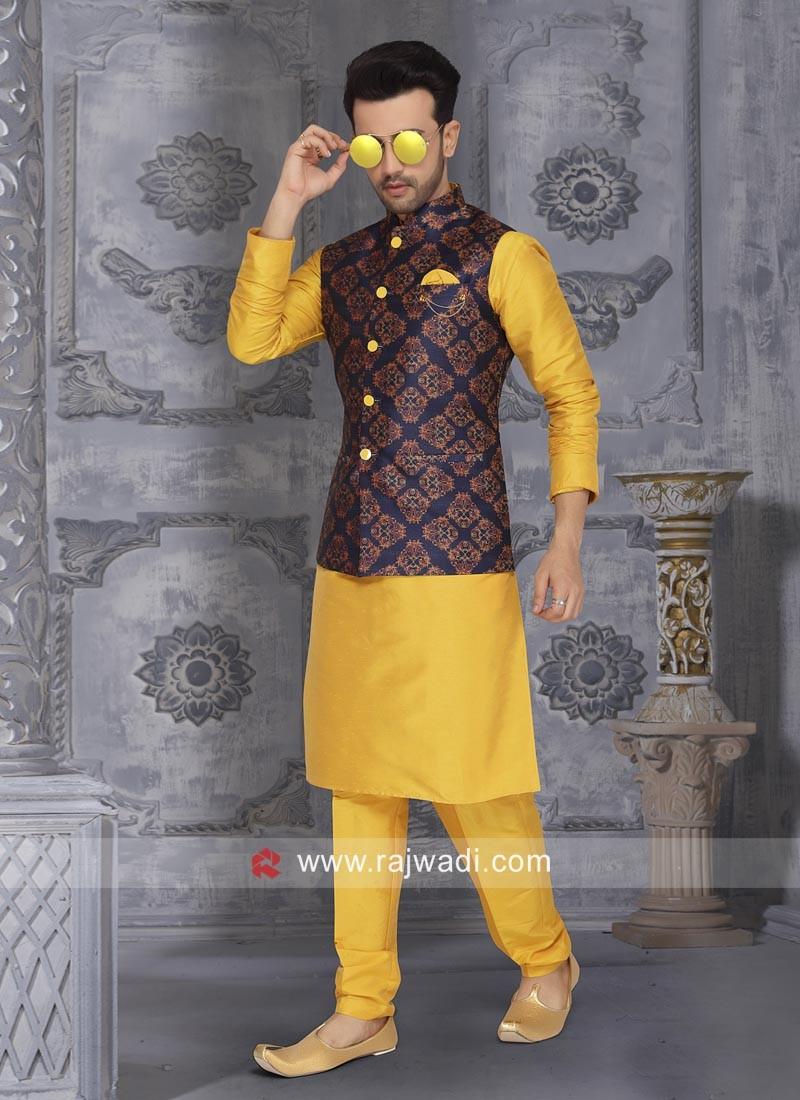 Attractive Yellow Wedding Nehru Jacket