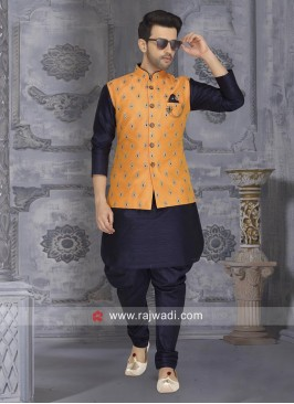 Navy Art Silk Fabric Nehru Jacket