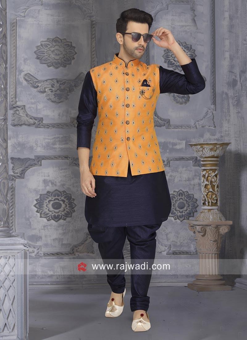 Navy Art Silk Fabric Nehru Jacket