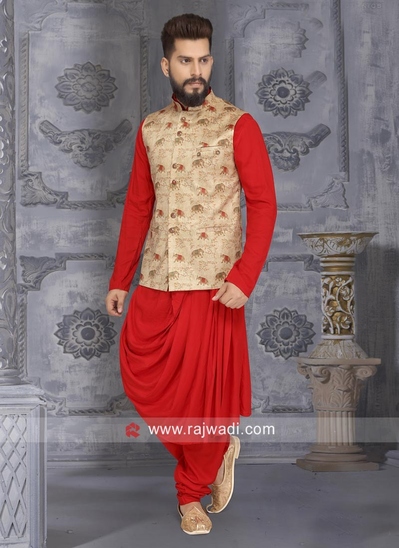 Satin Silk Layered Red Nehru Jacket