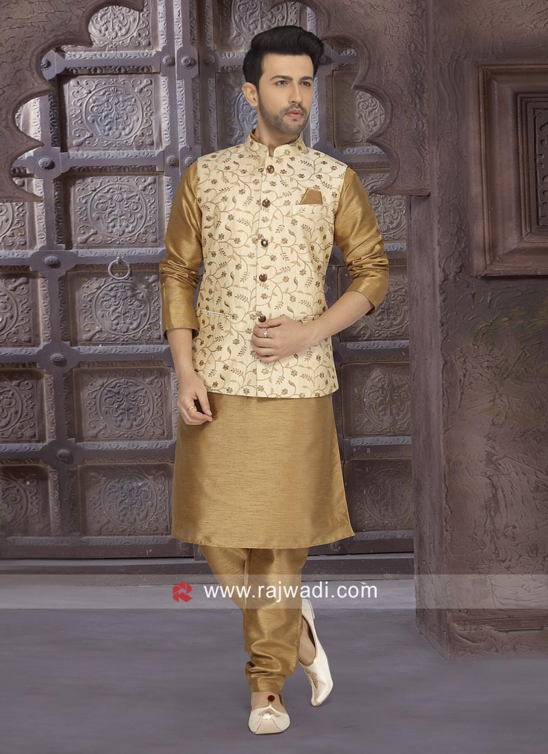 Stylish Golden Color Nehru Jacket