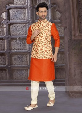 Stylish Orange Color Nehru Jacket