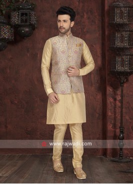 Attractive Golden Cream Nehru Jacket