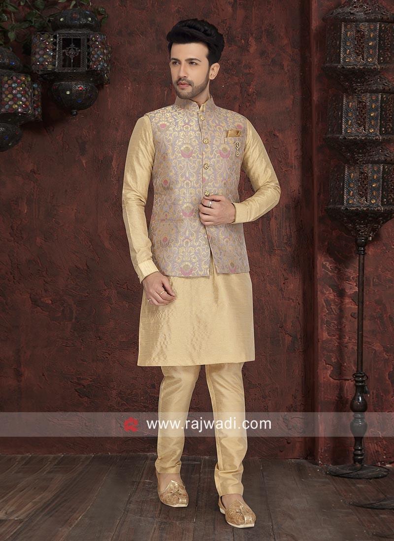 Attractive Golden Cream Nehru Jacket