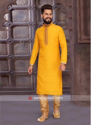 Long Sleeve Art Silk Fabric Kurta Pajama