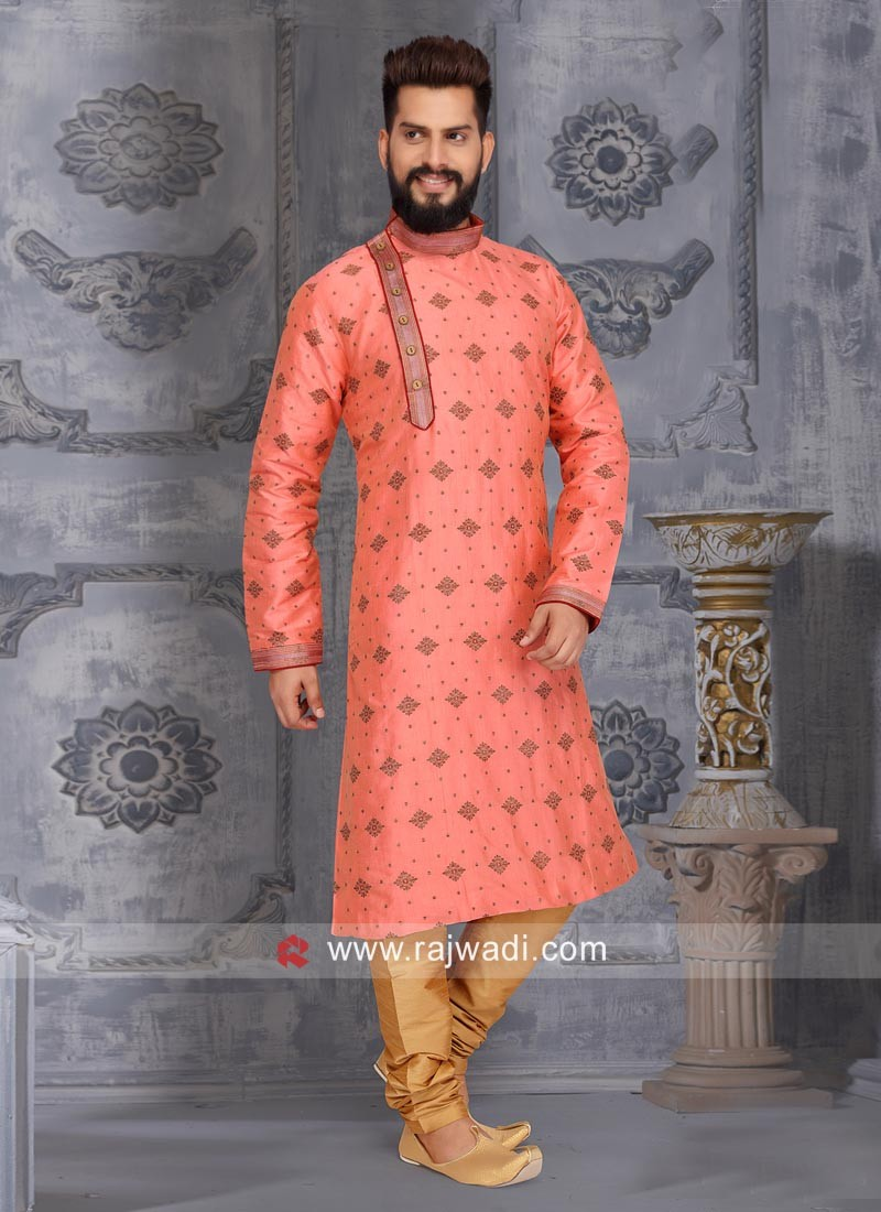 Round Neck Peach Color Kurta Pajama