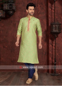 Art Silk Fabric Green Kurta Pajama