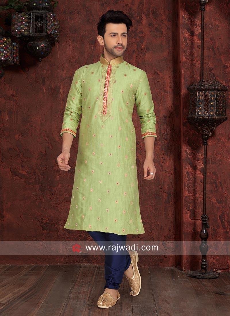 Art Silk Fabric Green Kurta Pajama