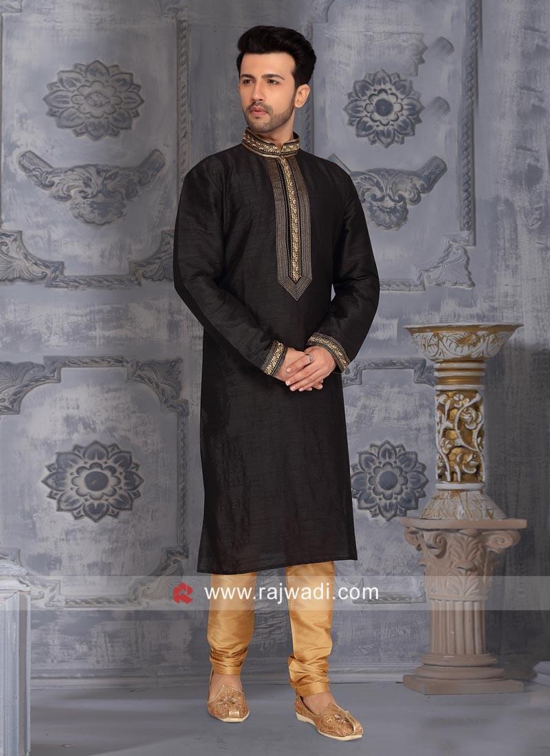 Black Color Kurta Pajama For Wedding