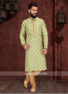 Brocade Silk Pista Green Color Kurta Pajama