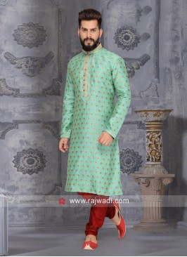 Sea Green Kurta Pajama With Stylish Buttons