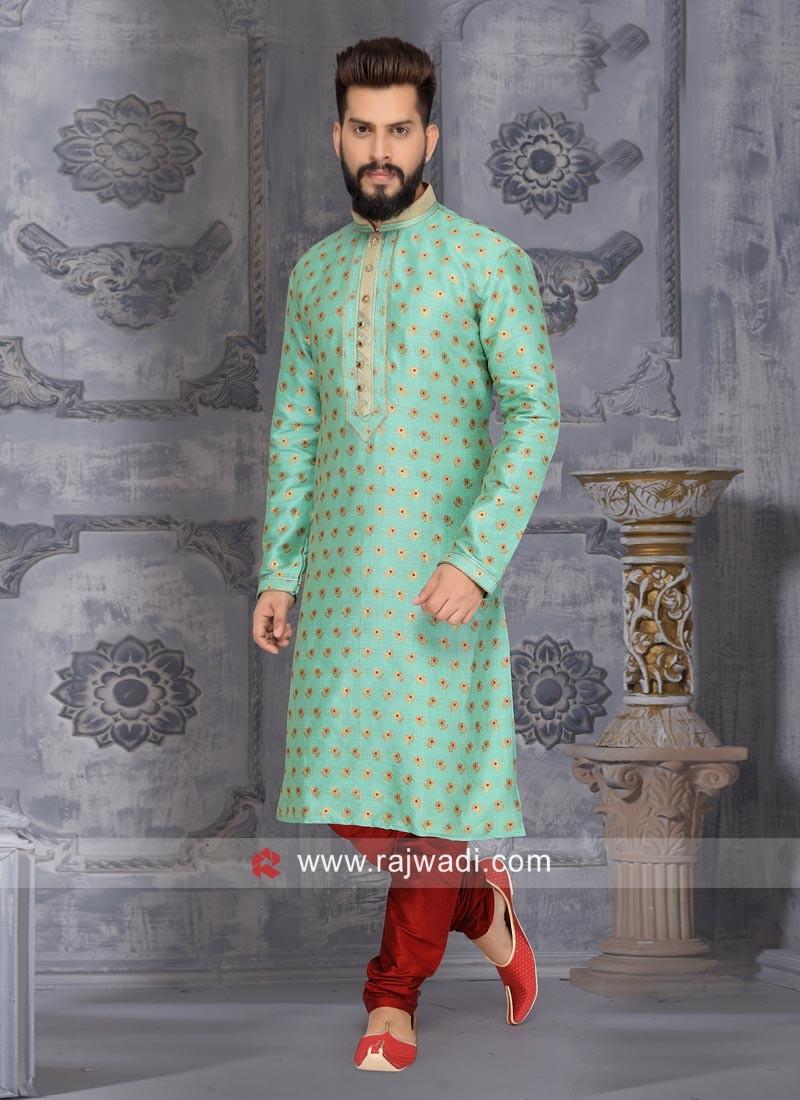 Sea Green Kurta Pajama With Stylish Buttons