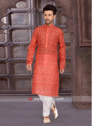 Cotton Silk Orange Kurta Set