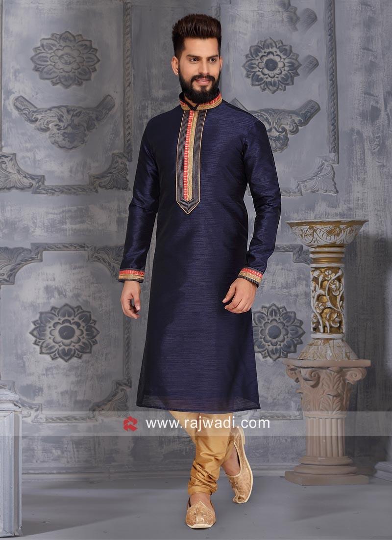 Stylish Navy Color Kurta Pajama