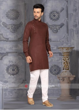 Cotton Silk Fabric Kurta Pajama In Brown Color
